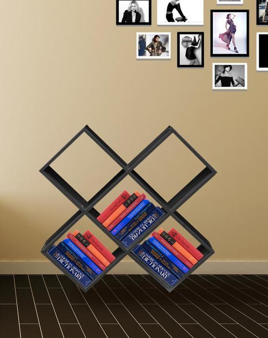 beuken vinyl lp kast boekenkast open design sico 5 vakken zwart