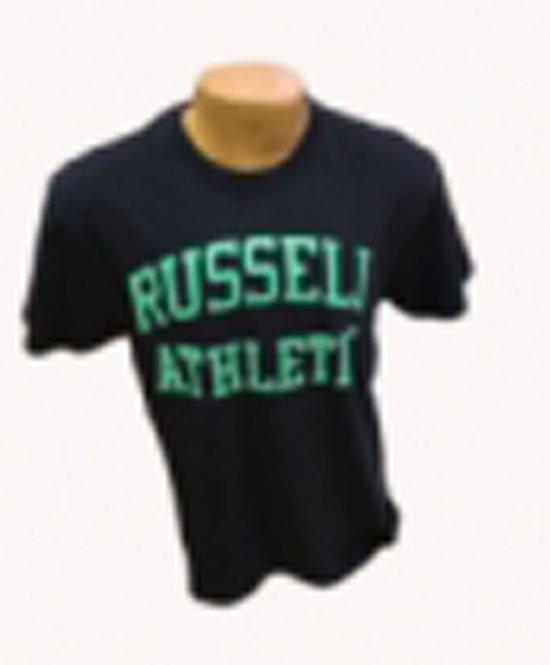 Russell T shirt groot logo navy/mintgroen