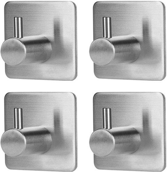 RVS Wandhaak (4-stuks) - Zelfklevende Handdoek Haakjes - Multi Wandhaakje - Muur Haak - Deurhaak - Vierkant
