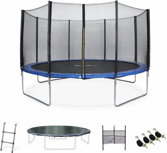 Trampoline Venus XXL Ø 430 cm, veiligheidsnet, ladder, dekzeil, verankeringskit en opbergnet voor schoenen