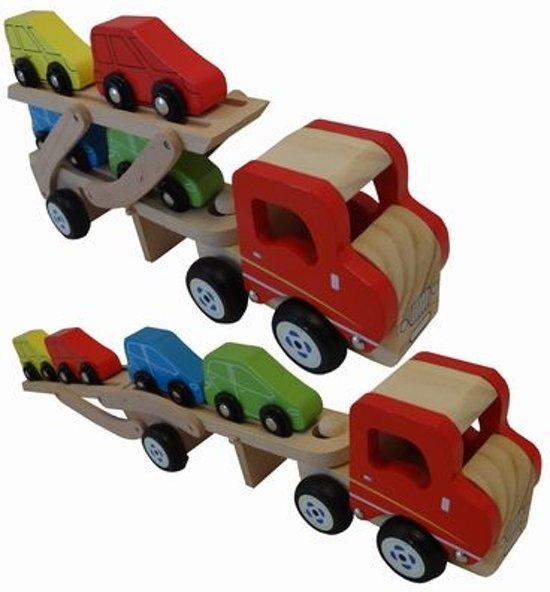 Playwood - Autotransporter met 4 auto's - Houten vrachtauto met auto's