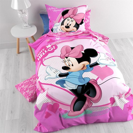 disney minnie mouse hello dekbedovertrek eenpersoons 140 x 200 cm roze. Black Bedroom Furniture Sets. Home Design Ideas