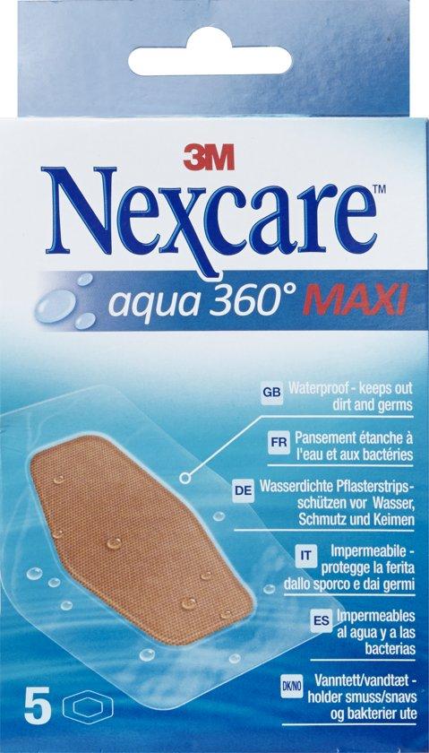 Nexcare™ Aqua 360° Maxi pleisters, 5 pleisters 59 mm x 88 mm, N1205DM