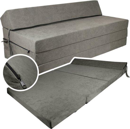 Extra breed logeermatras - grijs - camping matras - reismatras - opvouwbaar matras - 200 x 120 x 10 - met hoofdkussen