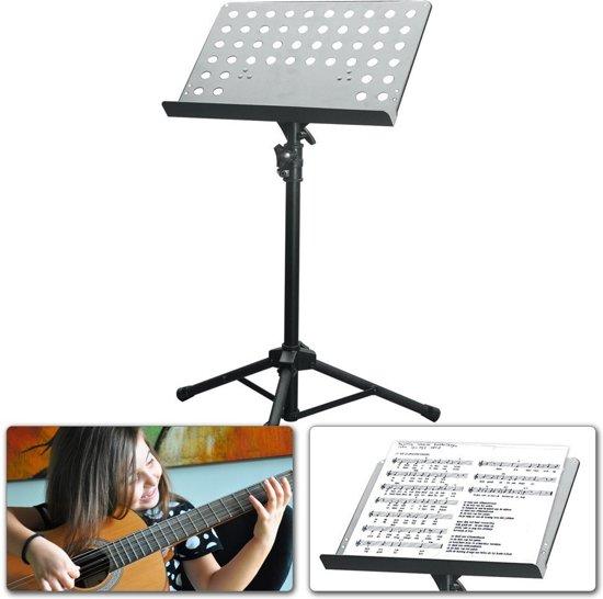 Vonyx Muziekstandaard (gaatjesblad) met in hoogte verstelbaar en kantelbaar blad