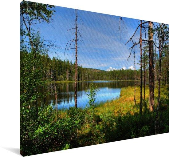 Reflectie van bossen in een kalm meer in het Nationaal park Skulesogen Canvas 180x120 cm - Foto print op Canvas schilderij (Wanddecoratie woonkamer / slaapkamer) XXL / Groot formaat!