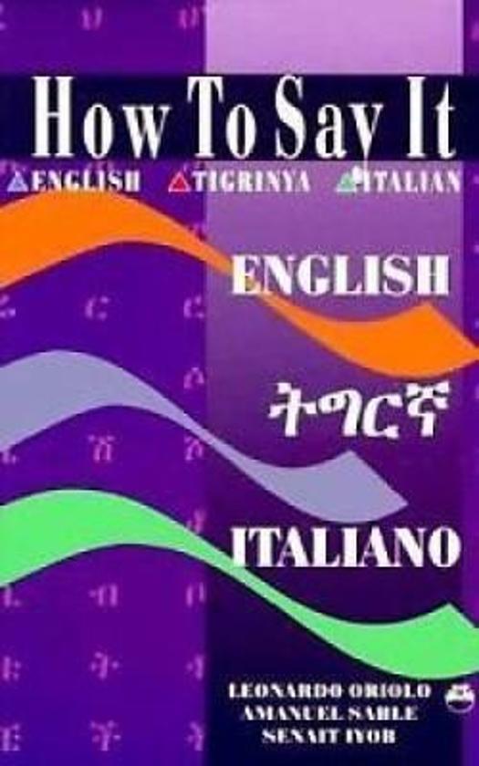 Bolcom How To Say It Englishtigrinyaitalian Senait Iyob