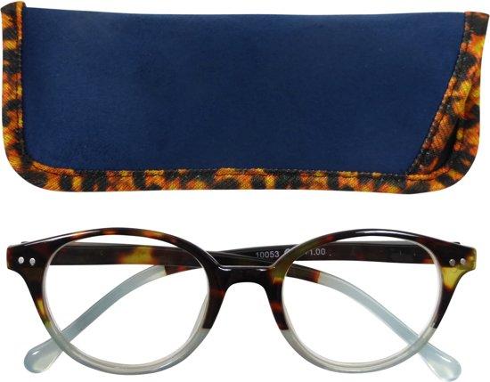 Lilly&June Leesbril Licht Blauw Transparant en Havana +2 - Met Bijpassend Etui