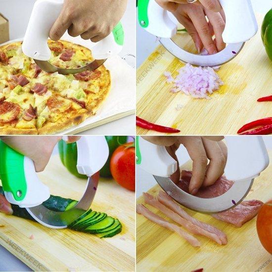 Cirkelvormige Ronden Keuken Mes, Roestvrijstalen rondwielmes om pols te beschermen voor BBQ-vleezen, groente, fruit, pizza