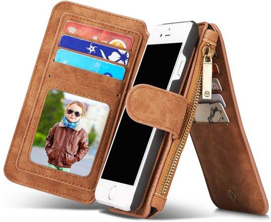 iphone 7 Luxe Lederen Portemonnee Cover - uitneembaar met backcover (bruin) in Workum / Warkum