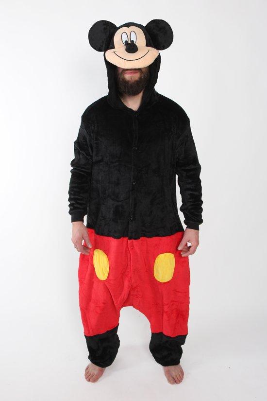 KIMU Onesie Mickey Mouse pak kostuum muis - maat S-M - muizenpak jumpsuit huispak festival