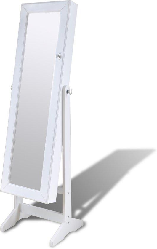 Sieradenkast met spiegeldeur en LED-lamp - Wit