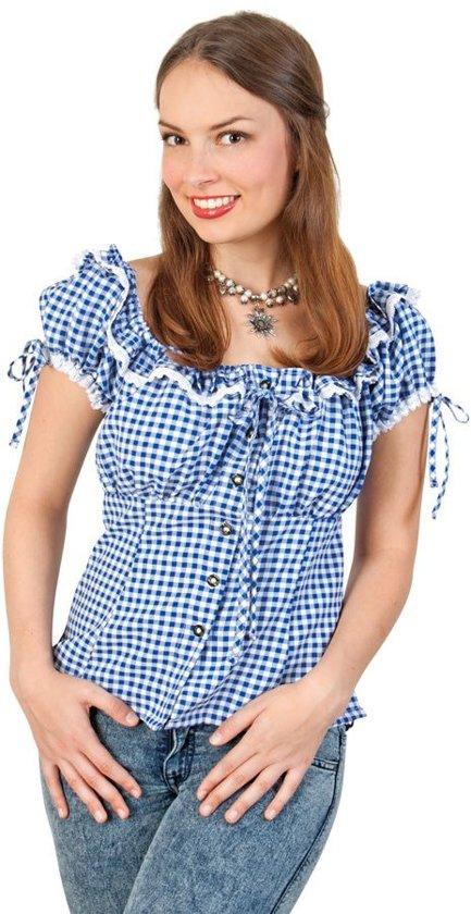 Bayern-blouse blauw/wit dames