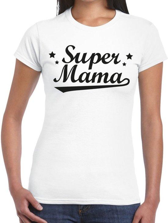 Super mama cadeau t-shirt wit dames - kado shirt voor moeders XS