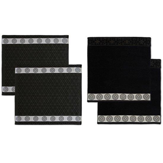 DDDDD Combiset 2 theedoeken & 2 keukendoeken lace black