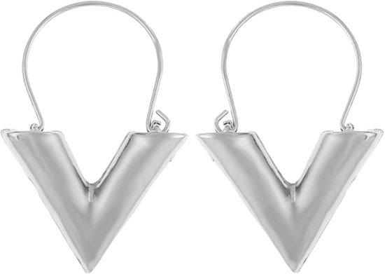 Fako Bijoux® - V Oorbellen - Trendy V Vorm - Zilverkleurig