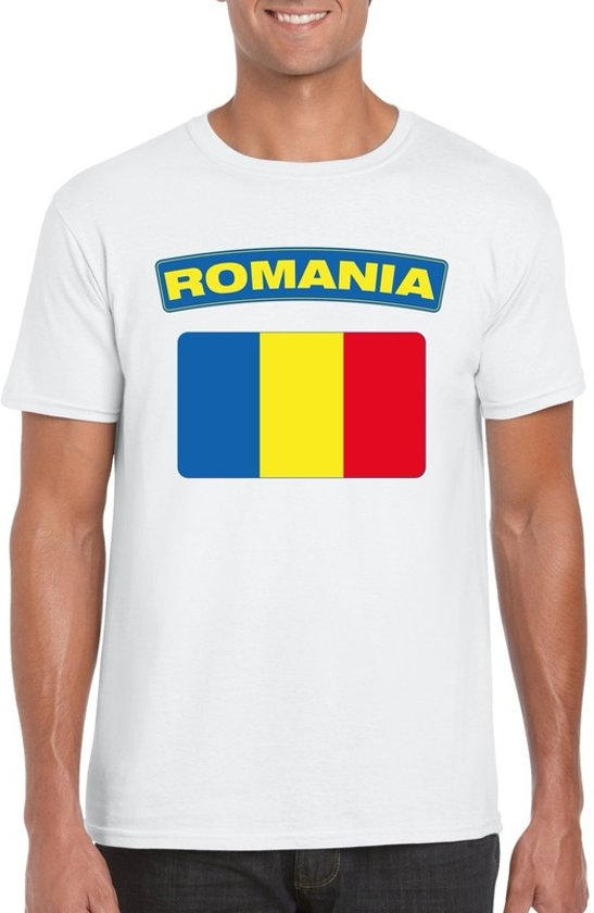 Roemenie t-shirt met Roemeense vlag wit heren M