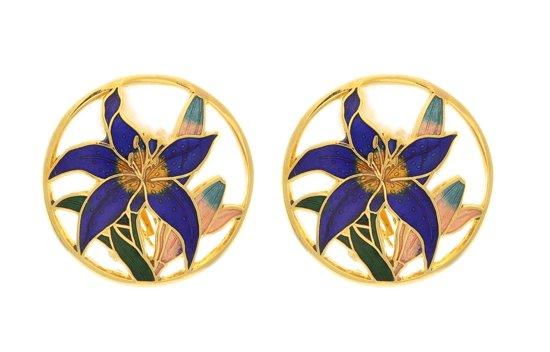 Behave® Dames Clip oorbel goud-kleur met blauwe bloem rond