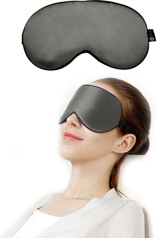 SIMIA™ Premium Zijden Slaapmasker - Luxe Verstelbare Reismasker - Slaapbril - Organic Satin - Nachtmasker - Oogmasker - Blinddoek - Meditatie - Yoga - Slaap - Reis - Zijde - Zijdezacht - Anti Rimpel - Cadeau Tip - Zilvergrijs