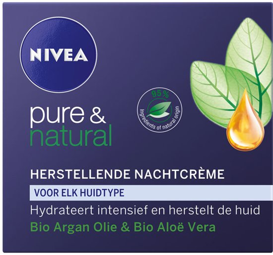 NIVEA Pure & Natural Herstellend Nachtcrème - 50 ml