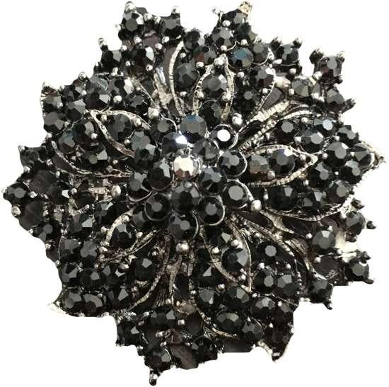 Broche bloem zwart