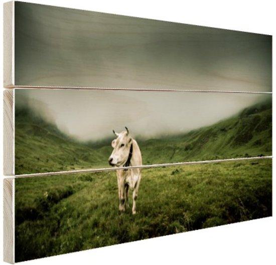 Koe in berggebied Hout 160x120 cm - Foto print op Hout (Wanddecoratie) XXL / Groot formaat!