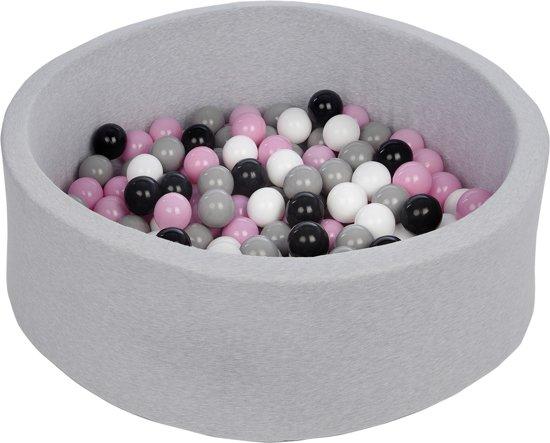 Zachte Jersey baby kinderen Ballenbak met 150 ballen,  - zwart, wit, lichtroze, grijs