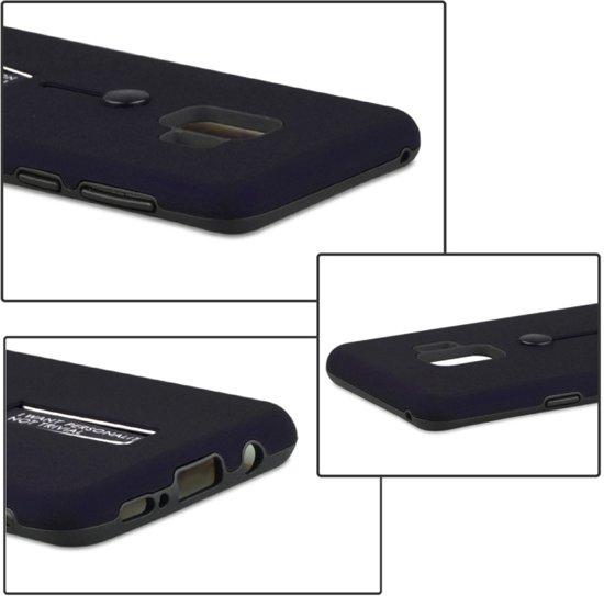 Let op type!! Voor Galaxy S9 backcover berijpte TPU + PC beschermende hoes met houder (donkerblauw)