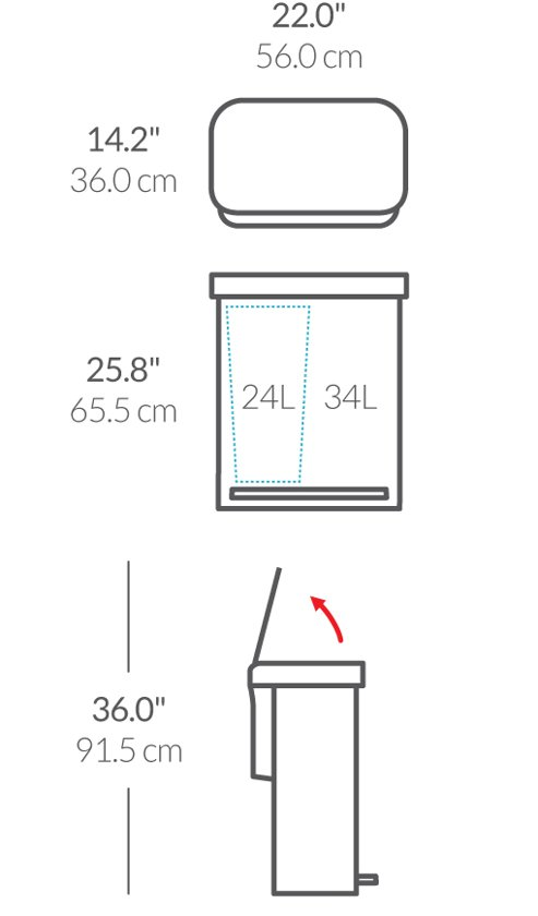 Simplehuman Rectangular Liner Pocket GFT RVS 24 + 34 Liter