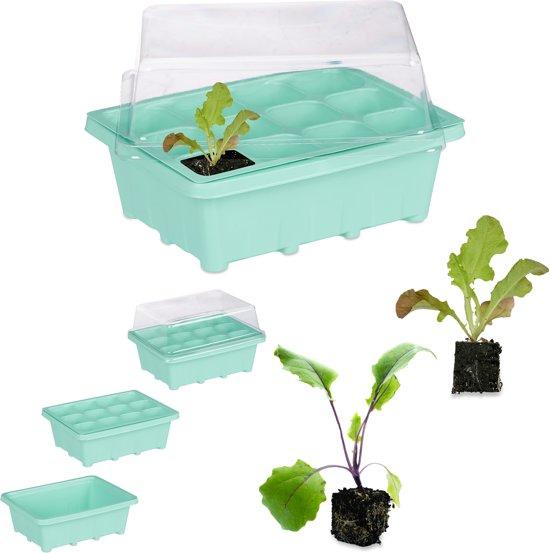 relaxdays kweekbak binnen - mini kweekkas met deksel - voor zaailingen - 12 vakken groen