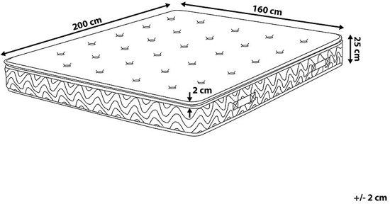 Beliani Luxus Pocketverenmatras Beige Schuim 160 x 200 cm