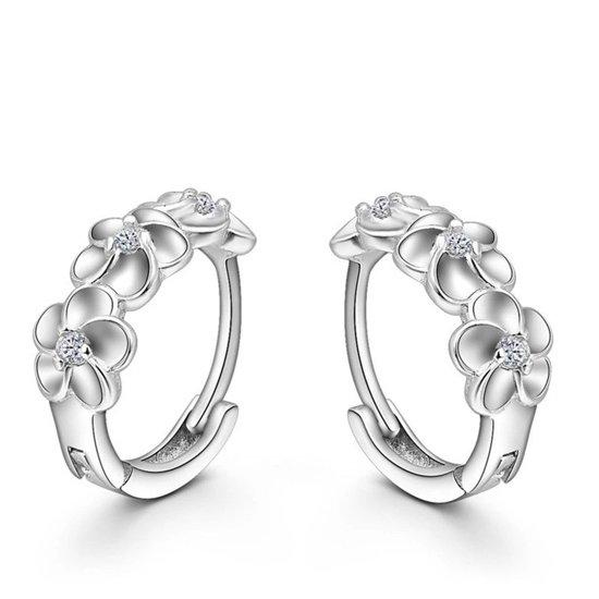 bol | zilveren oorringen - bloemen - oorbellen zilver