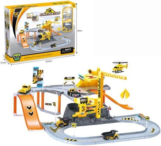 speelgarage werf construction werkplaats met helikopter, buldozer, kiepwagen...
