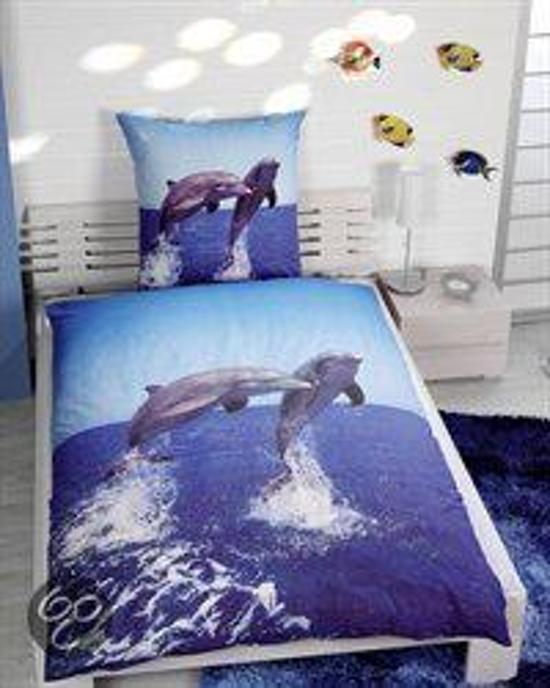 Dolfijn dekbedovertrek - Blauw - 1-persoons (140x200 cm + 1 sloop)