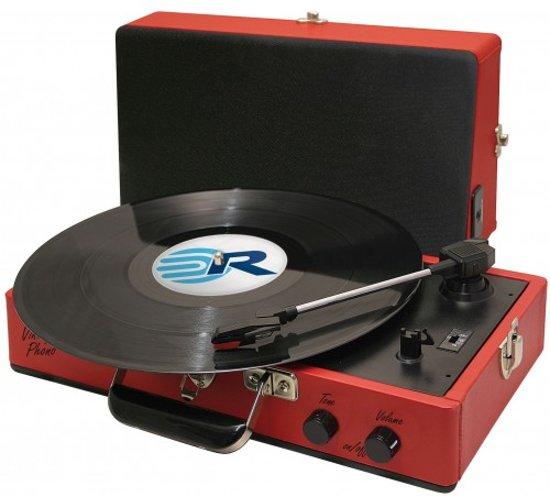 retro koffer platenspeler rood