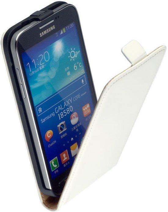 LELYCASE Flip Case Lederen Hoesje Samsung Galaxy Core Advance i8580 Wit in De Maat