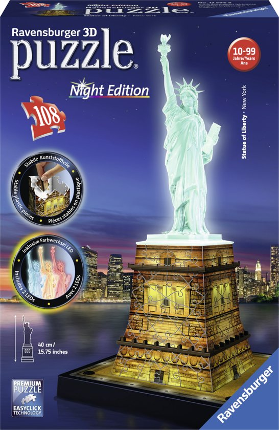Ravensburger Statue of Liberty Night Edition - 3D puzzel gebouw - 108 stukjes