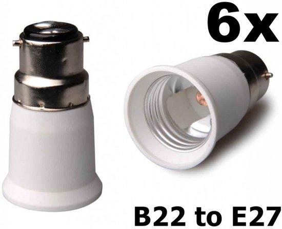 6 Stuks - B22 naar E27 Fitting Omvormer