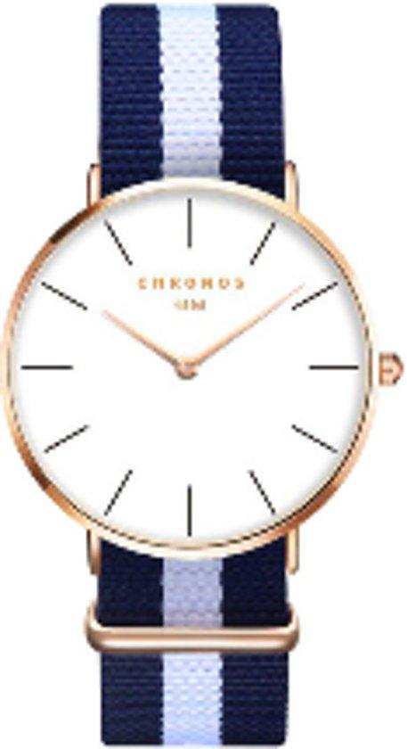 Chronos Horloge - Blauw/Wit/Blauw