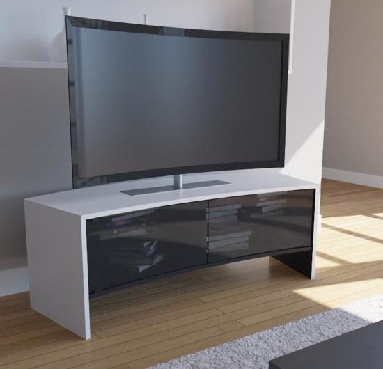 bol curved tv meubel curved tv kast curvedo design wit