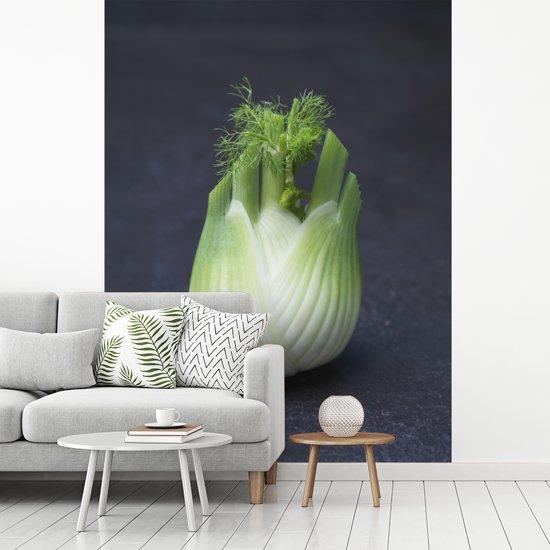 Fotobehang vinyl - Close up van een venkelbol op een zwarte ondergrond breedte 255 cm x hoogte 350 cm - Foto print op behang (in 7 formaten beschikbaar)