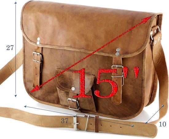 Laptoptas 15.4 '' Bruin - ECHT LEER - Boekentas - Aktetas A4 Formaat Toledo R15 + Kadoverpakking GRATIS bij ! Op=Op!
