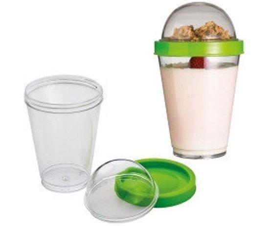 Yoghurt bewaarbeker incl lepel | Muesli beker | Beker met deksel + Lepel | Take-away-cup | Yoghurt 2 go cup | Groen