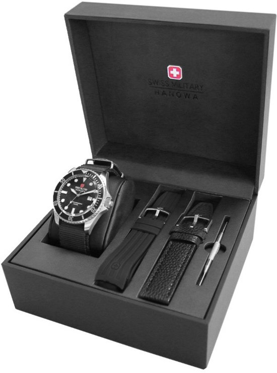 Swiss Military Hanowa 06-8279.04.007.07SET horloge heren - zwart - edelstaal