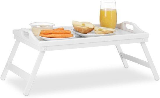 relaxdays bedtafel bamboe wit- dienbladtafel - dienblad bed opstaande rand - vouwtafel