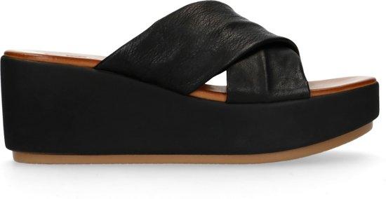 Sacha - Dames - Zwarte leren sandalen met plateau zool - Maat 39