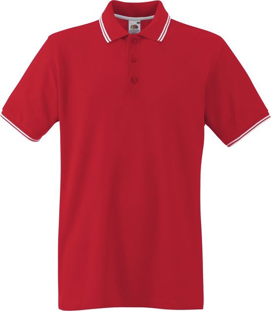 Fruit of the Loom Polo Tipped Red/White XL