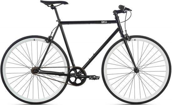 Sportieve fixed gear 6KU zwart/wit met stalen frame 55cm