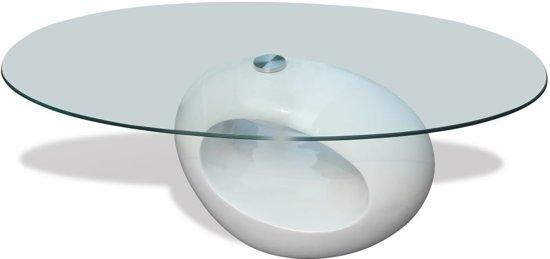 Hoogglans Witte Salontafel Met Glasplaat.Bol Com Vidaxl Ronde Salontafel Wit