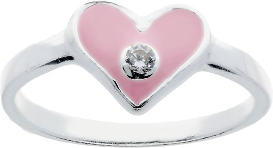 Lilly ring met hart - zilver - roze - zirkonia - transparant - mt 52